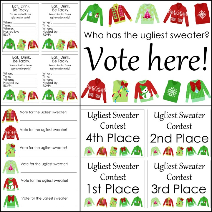 Free Ugly Sweater Printables For Your Party - The Country in Unique Free Ugly Christmas Sweater Certificate Template