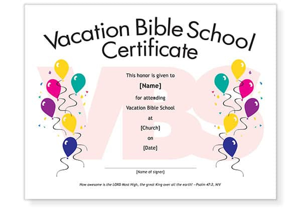 Free Vbs Attendance Certificate Template Download within New Printable Vbs Certificates Free