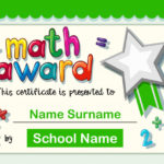 Free Vector | Certificate Template For Math Award For Math Award Certificate Template