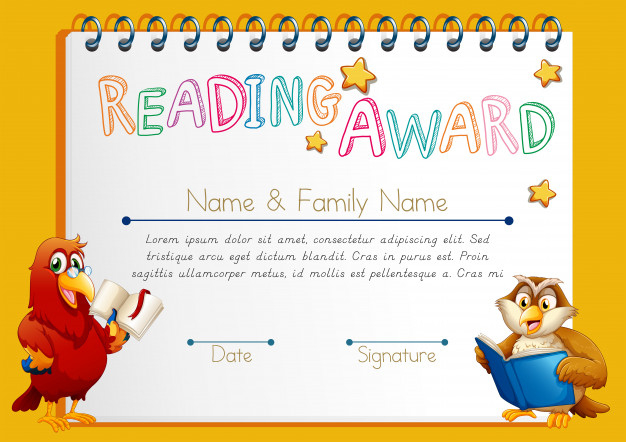 Free Vector | Certificate Template For Reading Award intended for Quality Reader Award Certificate Templates