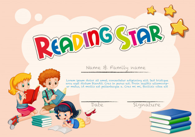 Free Vector | Certificate Template For Reading Star in Star Reader Certificate Template Free
