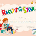 Free Vector | Certificate Template For Reading Star With Star Reader Certificate Template