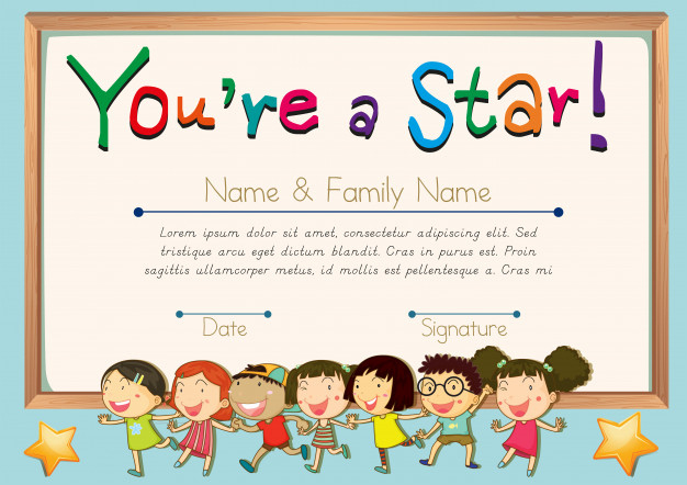 Free Vector | Certificate Template For Star in Star Certificate Templates Free