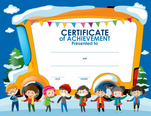 Free Vector | Certificate Template With Children In Winter For Best Children'S Certificate Template