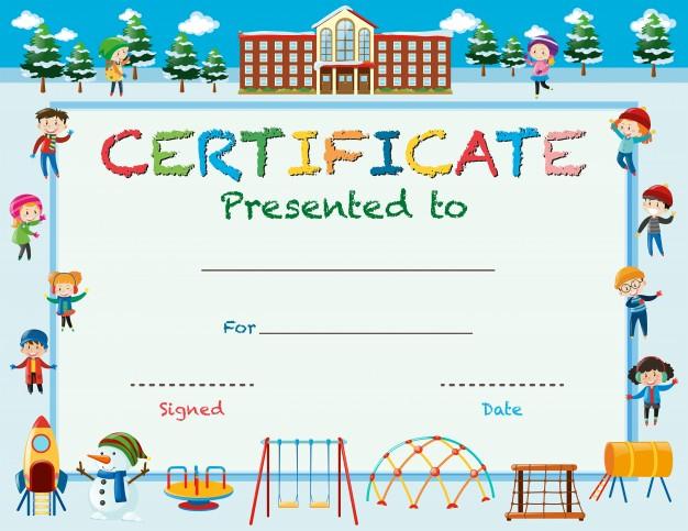 Free Vector | Certificate Template With Kids In Winter At School regarding Best Free Kids Certificate Templates