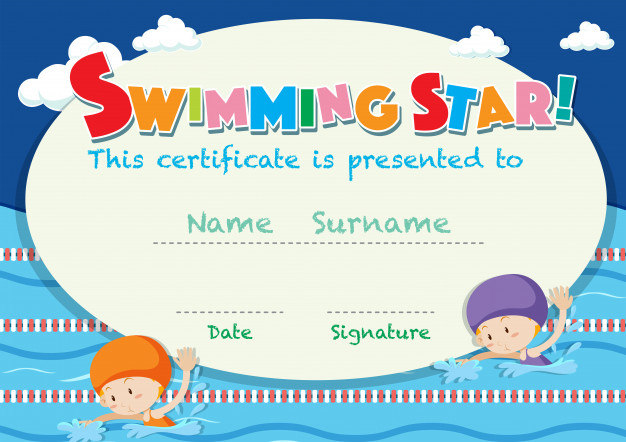 Free Vector   Certificate Template With Kids Swimming inside Best Swimming Achievement Certificate Free Printable