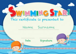 Free Vector | Certificate Template With Kids Swimming inside Swimming Award Certificate Template