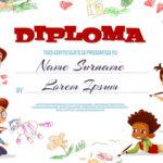 Free Vector | Diploma Template Illustration Of Kindergarten In Kindergarten Diploma Certificate Templates 10 Designs Free