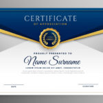 Free Vector | Elegant Blue And Gold Diploma Certificate Template In Unique Elegant Certificate Templates Free