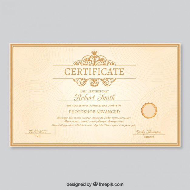 Free Vector | Elegant Certificate Template with Unique Elegant Certificate Templates Free