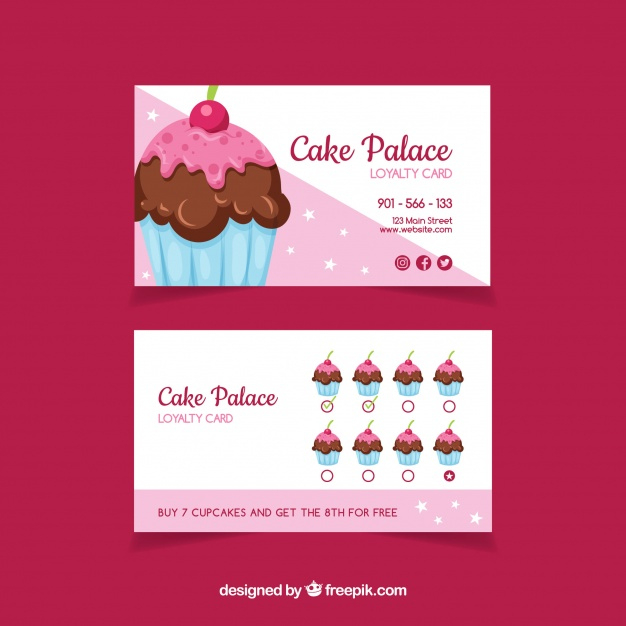 Free Vector   Lovely Loyalty Card Template With Cupcake in Quality Cupcake Certificate Template Free 7 Sweet Designs
