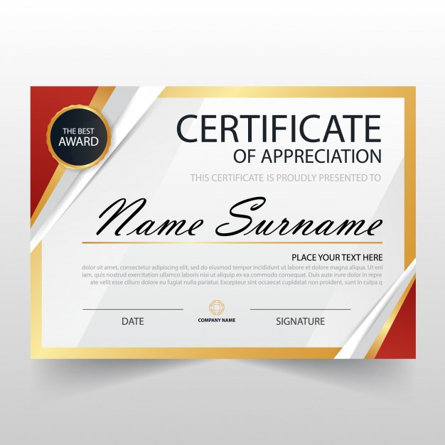 Free Vector | Modern Certificate Of Appreciation Template in Unique Recognition Certificate Editable