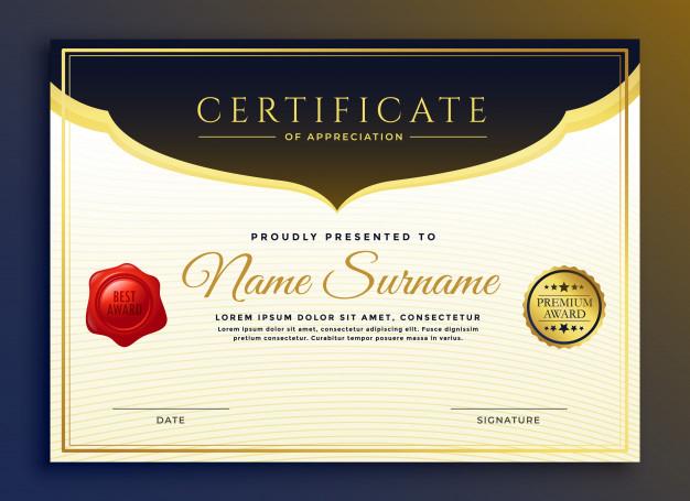 Free Vector | Professional Diploma Certificate Template Design regarding Professional Award Certificate Template