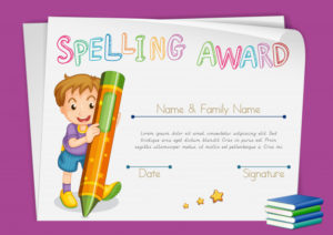 Free Vector | Spelling Award Certificate Template With Kids intended for New Certificate Of Achievement Template For Kids