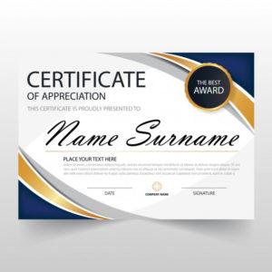 Free Vector | Wavy Certificate Of Appreciation Template inside Free Template For Certificate Of Recognition