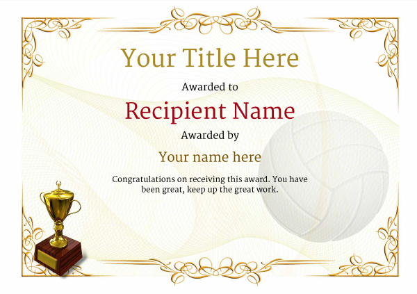 Free Volleyball Certificate Templates - Add Printable Badges pertaining to Unique Volleyball Tournament Certificate