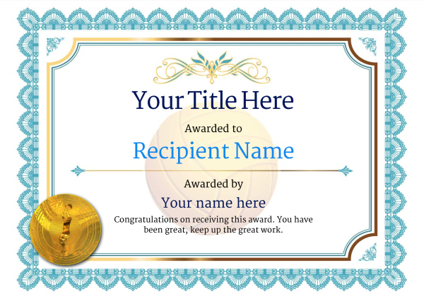 Free Volleyball Certificate Templates - Add Printable Badges Throughout Unique Volleyball Tournament Certificate