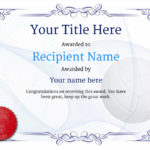 Free Volleyball Certificate Templates – Add Printable Badges With Regard To Best Volleyball Participation Certificate