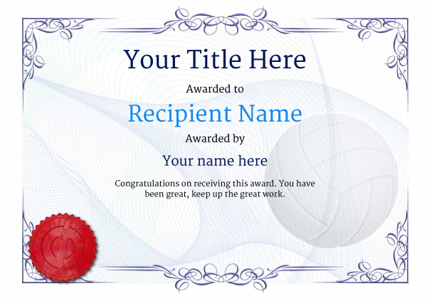 Free Volleyball Certificate Templates - Add Printable Badges with regard to Best Volleyball Participation Certificate
