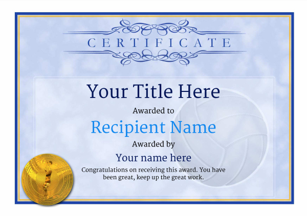 Free Volleyball Certificate Templates - Add Printable Badges with regard to Volleyball Participation Certificate