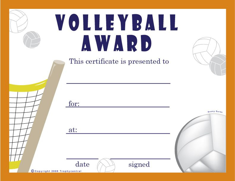 Free Volleyball Certificates | Trophycentral | Volleyball with Best Volleyball Participation Certificate