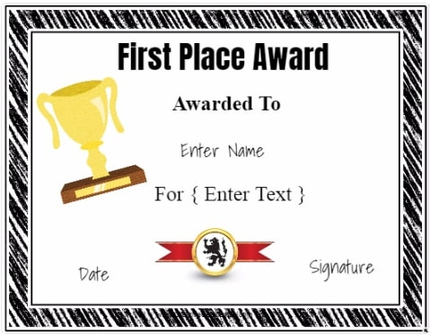 Free Winner Certificate Template | Customize Online & Print for Quality First Place Award Certificate Template