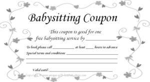 Free+Babysitting+Coupon+Template   Babysitting Coupon inside 7 Babysitting Gift Certificate Template Ideas