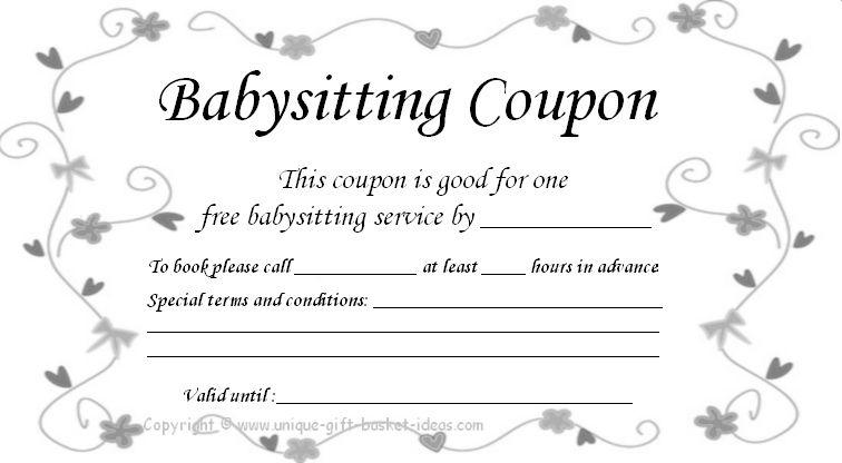 Free+Babysitting+Coupon+Template | Babysitting Coupon inside 7 Babysitting Gift Certificate Template Ideas