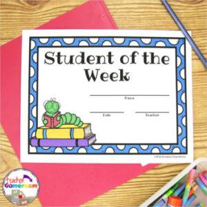 Freebie – Student Of The Week Certificates pertaining to Student Of The Week Certificate