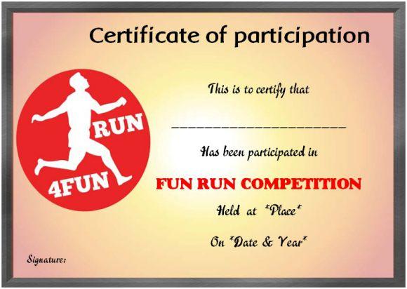 Fun Run Certificate Template : 14+ Editable Free Word with regard to Unique Marathon Certificate Template 7 Fun Run Designs