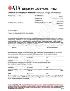 G704Cma–1992, Certificate Of Substantial Completion, Construction  Manager-Adviser Edition with regard to Certificate Of Construction Completion