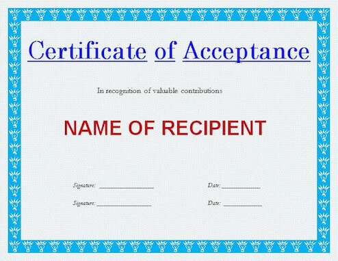 Generic Certificate Of Acceptance Template For Download | Hloom with Certificate Of Acceptance Template