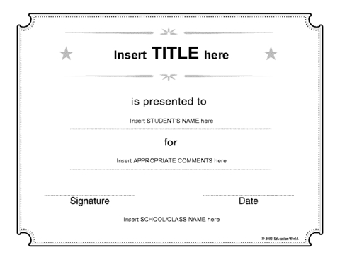 Generic Certificate Template | Education World inside Fresh Free Student Certificate Templates