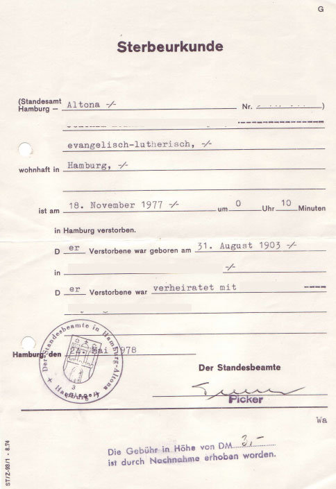 German Death Certificates From Germany in Death Certificate Template