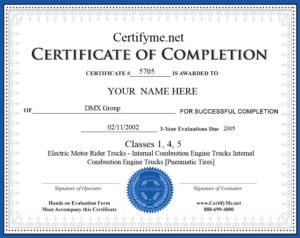 Get Your Osha Forklift Certification Card With Certifyme For Best Forklift Certification Template