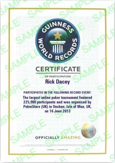 Get Your Own Guinness World Record Certificate - Pokerstars Blog regarding Fresh Guinness World Record Certificate Template