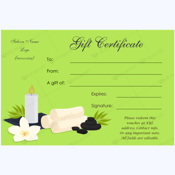 Gift Certificate 24 - Word Layouts | Spa Gift Certificate regarding New Free Spa Gift Certificate Templates For Word