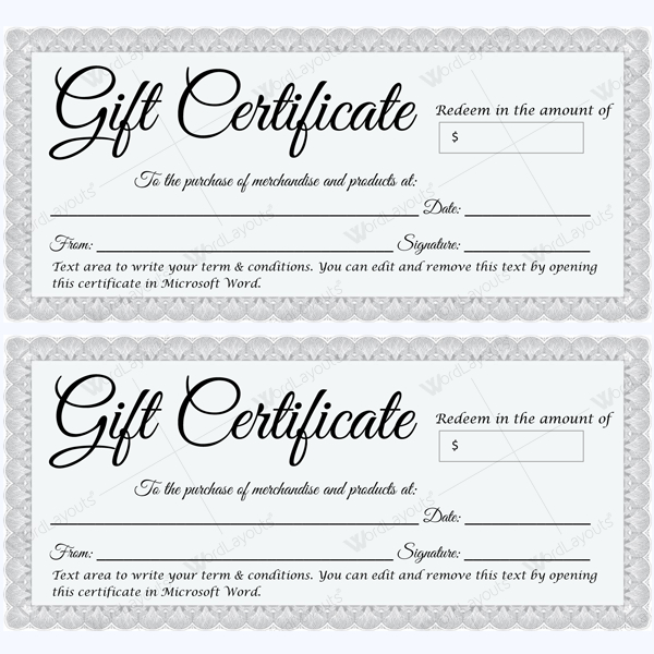 Gift Certificate 30 - Word Layouts | Printable Gift in Quality Microsoft Gift Certificate Template Free Word