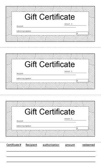 Gift Certificate 8.5 X 14 (Black And White With Tracking Tab inside Fresh Small Certificate Template