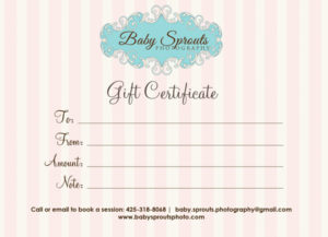 Gift Certificate Baby Sprouts Photography – Baby Sprouts for Photography Session Gift Certificate