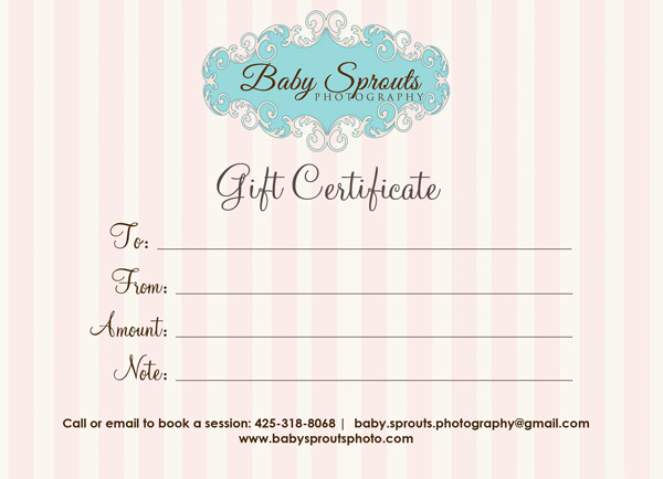 Gift Certificate Baby Sprouts Photography - Baby Sprouts for Photography Session Gift Certificate