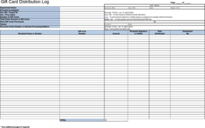 Gift Certificate Log Template (4) – Templates Example with regard to Gift Certificate Log Template