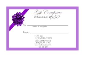 * Gift Certificate regarding Salon Gift Certificate