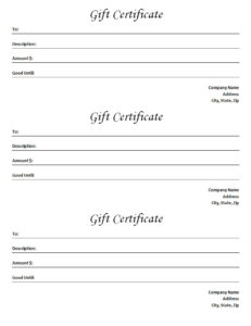 Gift Certificate Template – Blank Microsoft Word Document with regard to Unique Fillable Gift Certificate Template Free