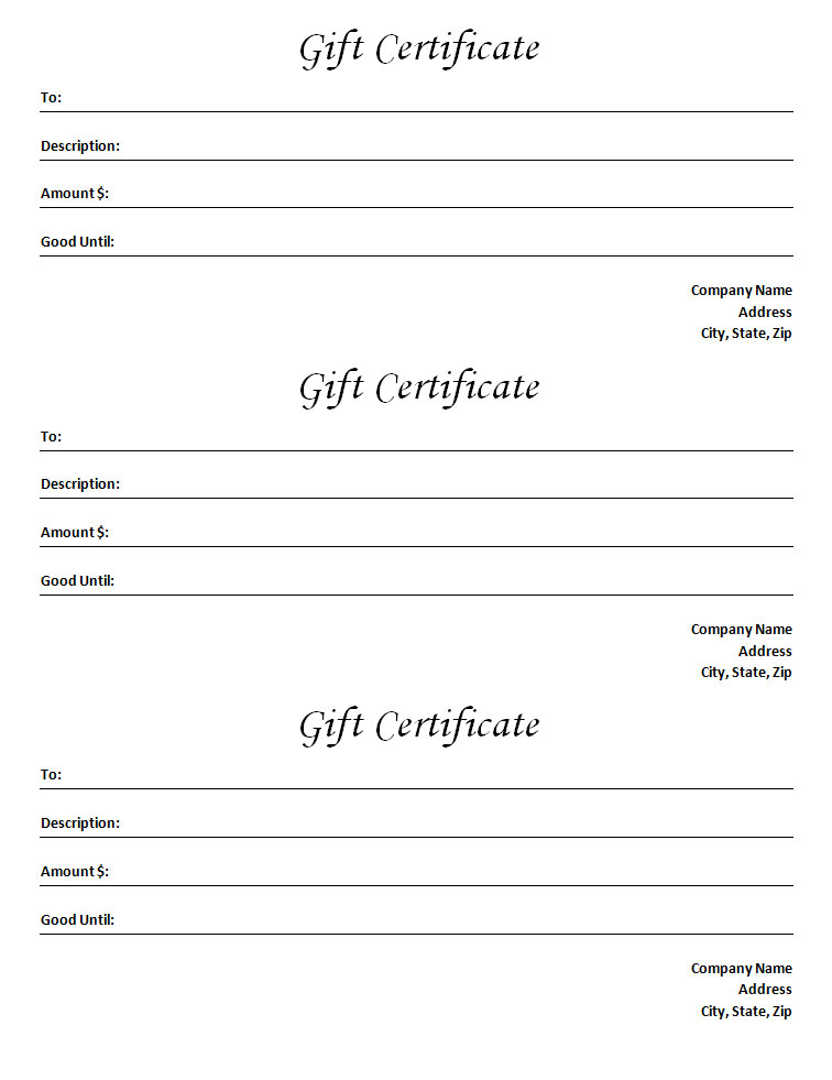 Gift Certificate Template - Blank Microsoft Word Document with regard to Unique Fillable Gift Certificate Template Free