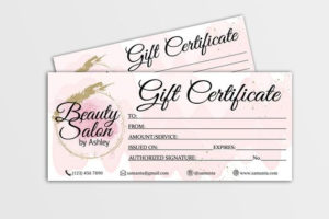 Gift Certificate Template, Editable Gift Card, Gift Voucher, Gift Card  Beauty Salon, Gift Certificate Hair Stylist, Nails, Makeup Artist in Unique Beauty Salon Gift Certificate