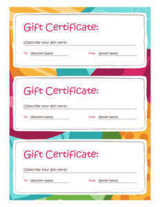 Gift Certificates (Bright Design, 3 Per Page) – Templates regarding Best Valentine Gift Certificates Free 7 Designs