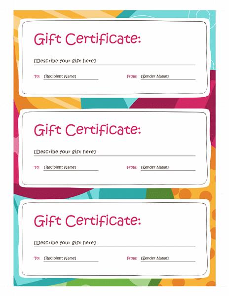 Gift Certificates (Bright Design, 3 Per Page) - Templates regarding Best Valentine Gift Certificates Free 7 Designs