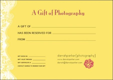 Gift Certificates | Gift Certificates, Fundraising Crafts, Gifts throughout Photography Session Gift Certificate