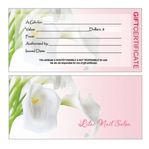 Gift Certificates Printing For Nail Salon for Nail Salon Gift Certificate